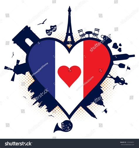 0008100594 when in french love france heart shaped flag silhouettes stock vector
