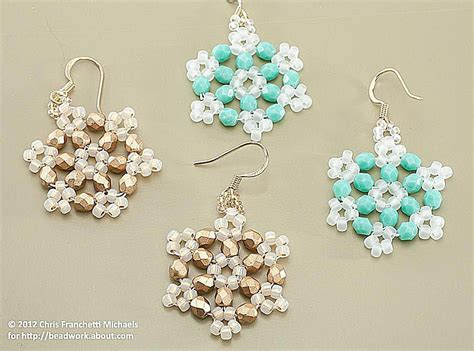 snowflake earring pattern crystal beaded snowflake using hexagon angle weave