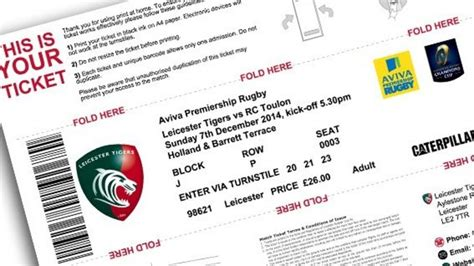 print at home available on tigers tickets leicester tigers