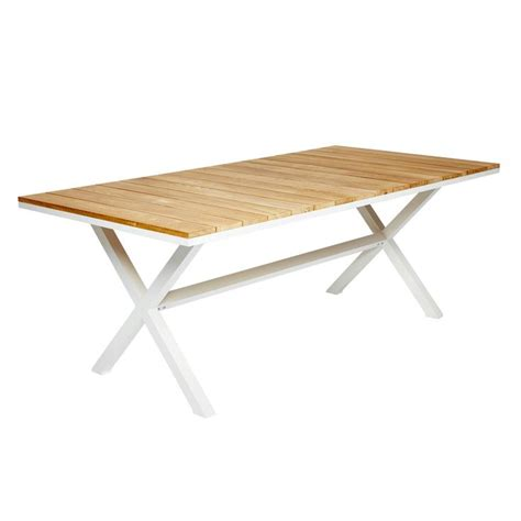 Coast White Cross Leg Dining Table with Wooden and Timber