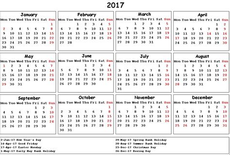 Calendars With Holidays 2017 Calendar Uk Holidays Printable Calendar Templates