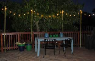 How To String Patio Lights How To Hang Outdoor String Lights Without Trees Home Design Ideas