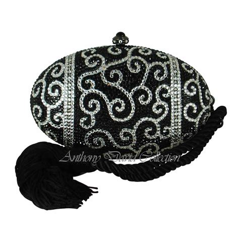 Clutch Original Swarovski anthony david oval evening bag oval egg black