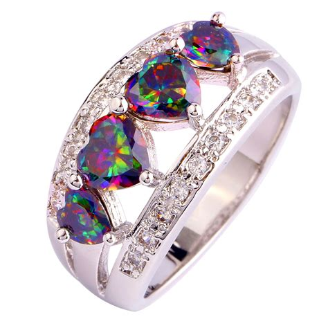 new rings cut multi color rainbow white topaz