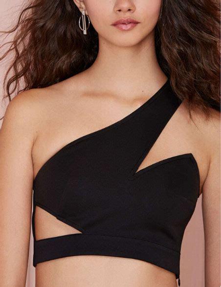 22240 Black Oblique Cut Size L oblique shoulder cut out slim tank top
