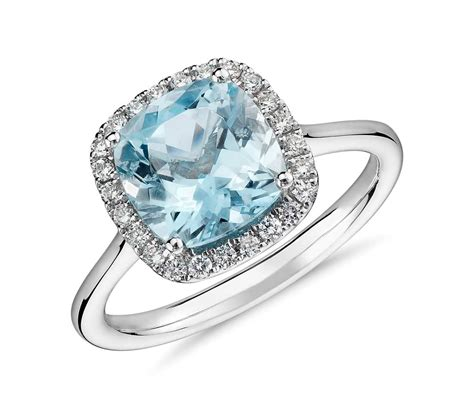 aquamarine and halo ring in 14k white gold 8x8mm