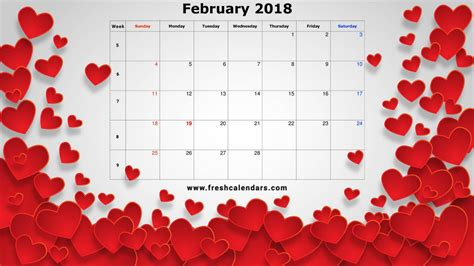 Calendar 2018 Valentines Day February 2018 Printable Calendar Templates