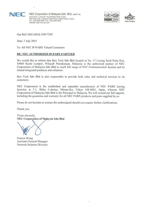 authorization letter malaysia byo tech sdn bhd