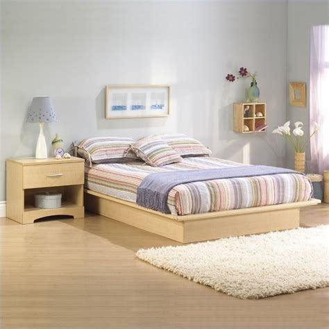 Bed And Nightstand Set South Shore Copley Wood Storage Platform Bed And Nightstand Set 3013217 3113062 Pkg