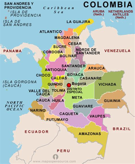 colombia on a world map free colombia map map of colombia free map of colombia