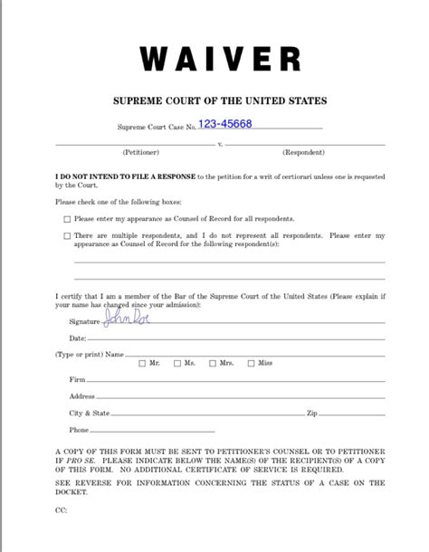 sle waiver free printable documents