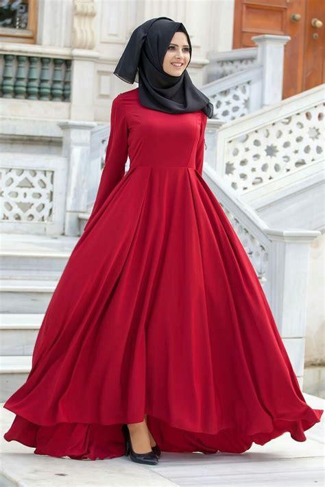 red beautiful modest dress hijab hijabi muslilmah
