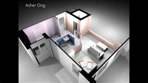 1 Room Flat - 1 room hdb flat corner 1 studio apartment 1sa model 3d