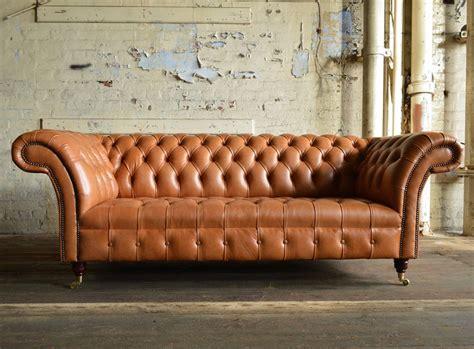 montana chesterfield sofa  seater  english tan