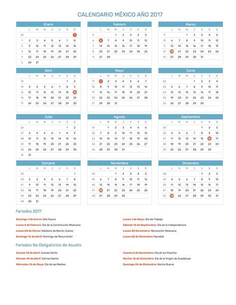 calendario enero 2017 con dias feriados mxico calendario m 233 xico a 241 o 2017 feriados