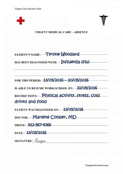 42 Fake Doctor S Note Templates For School Work Printable Templates Urgent Care Doctors Note Template