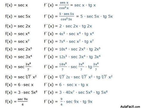 derivada de coseno cuadrado derivadas trigonom 233 tricas derivada de la secante
