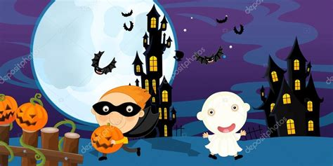 imagenes de halloween niños pidiendo dulces escena de halloween de dibujos animados fantasmas y