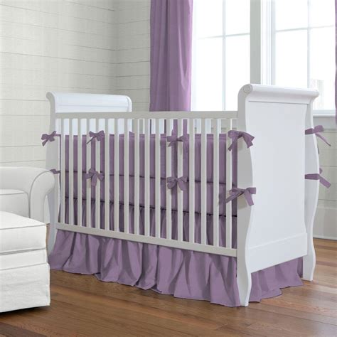 Solid Aubergine Purple Crib Bedding Carousel Designs How Big Is A Baby Crib