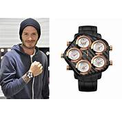 Celebrity Style Beckhams Watch In Black And Rose Gold