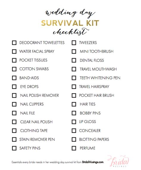 Wedding Checklist Essentials by Items Every Needs In Wedding Day Survival Kit