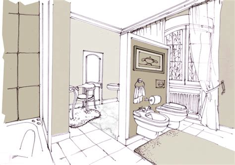 sketch of a bathroom sketches by irina kudryashova at coroflot com