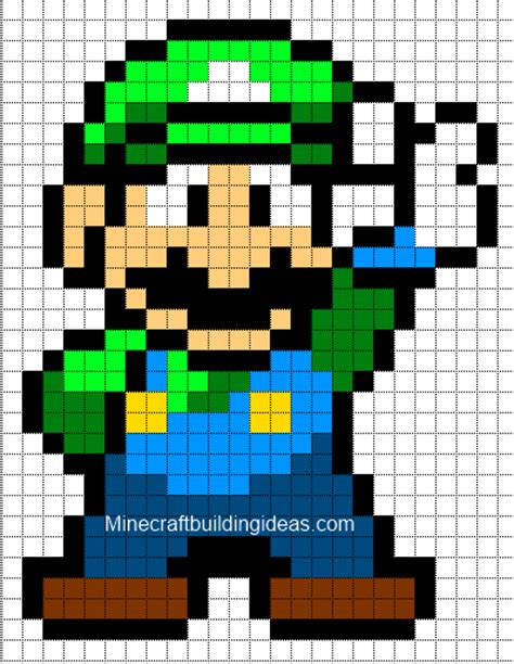 minecraft pixel art templates luigi