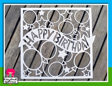 free card templates for cricut happy birthday paper cut template svg dxf cutting file