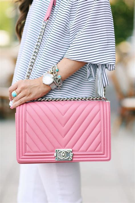 The Pink Bag pink chanel boy bag the closet bags