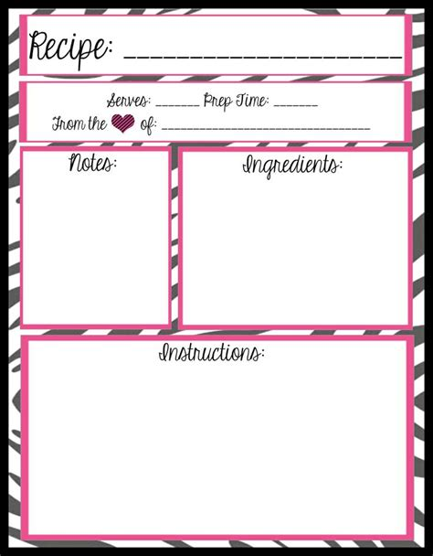 typable recipe card template recipe card printable printables