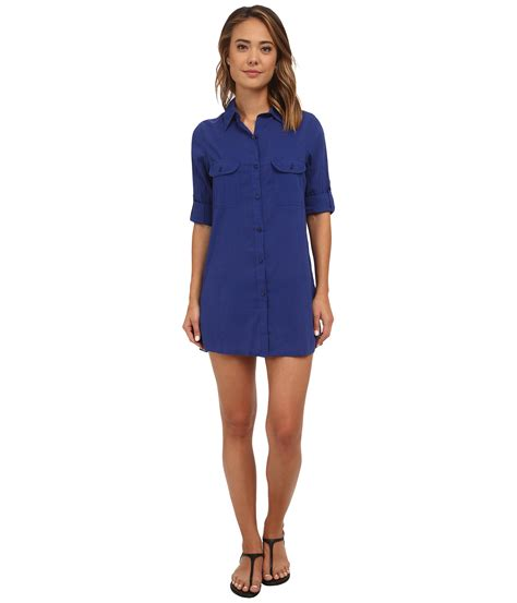 Ij Lg Dress Lawren lyst by ralph crushed cotton c shirt cover up in blue