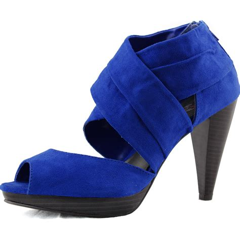 platform royal blue high heel ankle peep toe