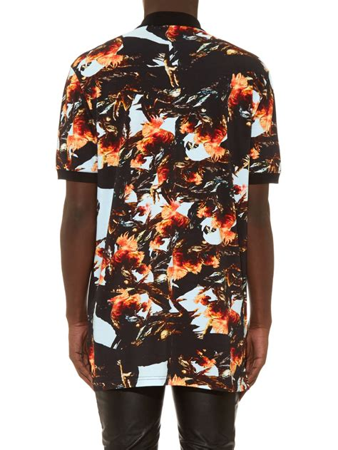 givenchy columbian fit rooster print polo shirt in black for lyst