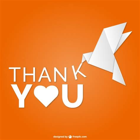 Origami Thank You - thank you vector with origami bird vector free