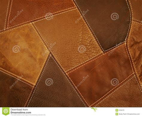 Leather Patchwork - leather fabric patchwork background stock photo image