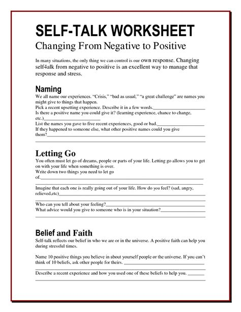 Self Acceptance Worksheets by For More Tips To Better Manage The Anxiety In Your