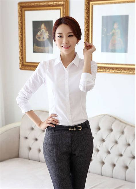 Kemeja Wanita Kemeja Lengan Panjang Kemeja Putih Yb 1 kemeja wanita putih polos lengan panjang model terbaru jual murah import kerja