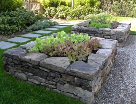 raised beds  stone garden beds backyard garden