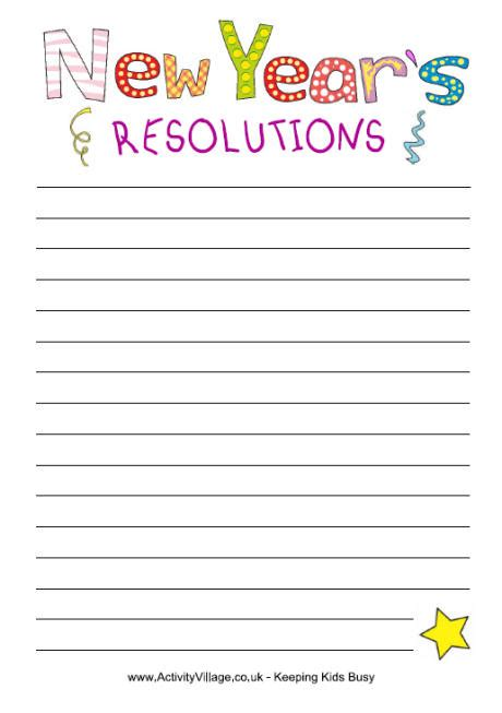 new year writing ks2 5 best images of printable new year s resolution template