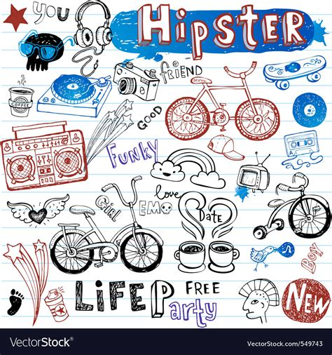 free doodle vector set hipsters doodle set royalty free vector image vectorstock