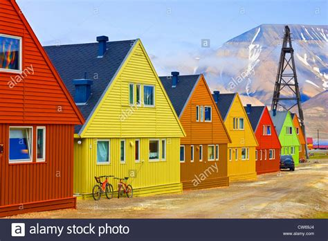 colorful homes colourful houses svalbard longyearbyen stock