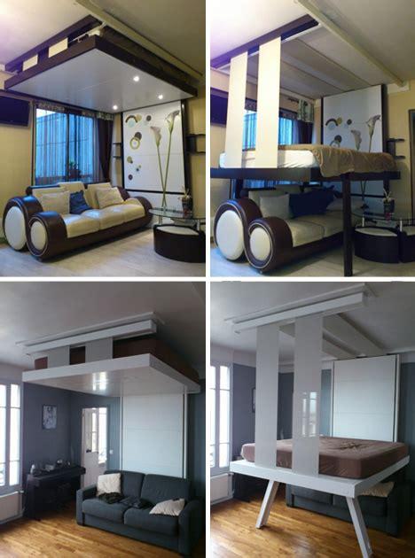 Liftbed amp bedup 2 space saving beds stored on ceilings urbanist