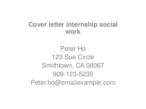 cover letter for social work internship cover letter internship social work