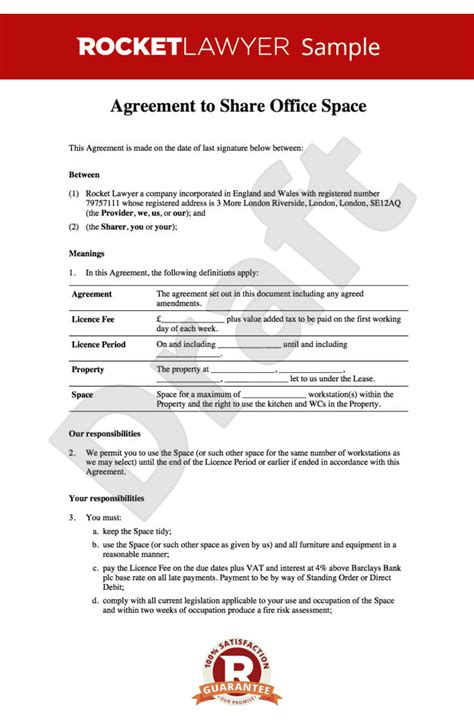 Office Sharing Agreement Office Rental Agreement Template Share Your Office Coworking Membership Agreement Template