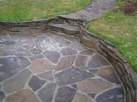 flagstone patio with mortar joints back patio