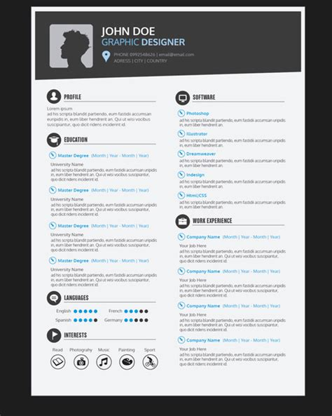 Resume Template Design Graphic Graphic Designer Resume Template Vector Free