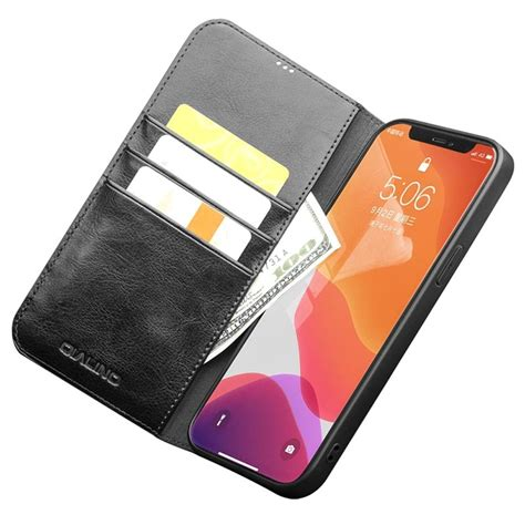 qialino classic iphone  pro max wallet leather case