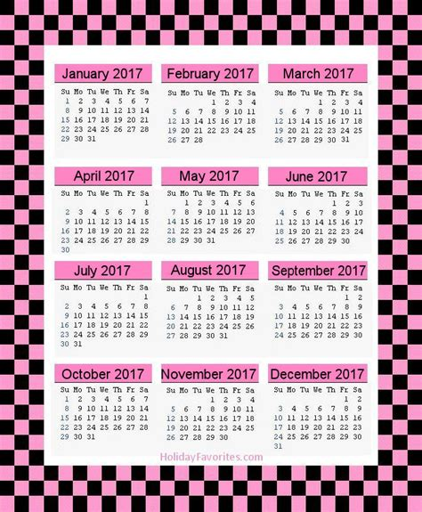 printable calendar 2017 pink 2017 printable calendar pagesholiday favorites