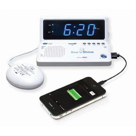 bedside l with usb charging port maxiaids rise n shine dual alarm clock with bed shaker