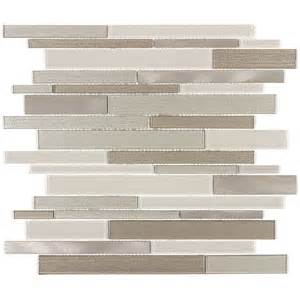 shop elida ceramica coquina linear mosaic glass and metal wall tile common 12 in x 12 in